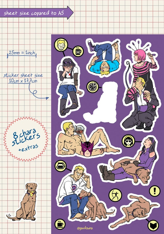 Hawkguy facepalm vinyl kiss cut stickers sheet decorating planners hawkeye clint barton kate boshop pizza dog marvel avengers