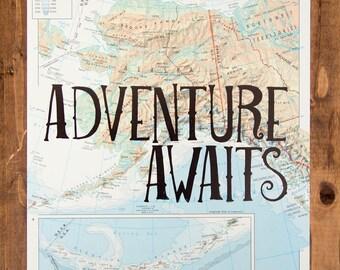 "Alaska Map Print, Adventure Awaits, Great Travel Gift, 8"" x 10"" Letterpress Print"
