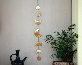 Moon Phases Wall Decor Moon Wall Hanging Brass - Moon Wall Art - Crescent Moon Mobile - Moon Child - Lunar