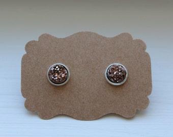 Rose Gold Druzy Earrings, 8mm Tiny Druzy, Drusy Earrings, Silver Post, Rose Gold Druzy Stud, Silver Druzy Earrings, Druzy Post