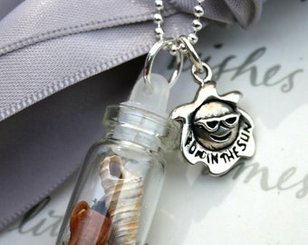 Glass Vial Necklace with Beach shells and Sterling charm