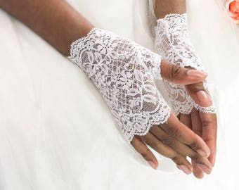 "Wedding gloves, white stretch lace gloves, tea gloves, fingerless gloves, lace gloves, small white gloves, gloves,  6"" long,  ready to ship,"