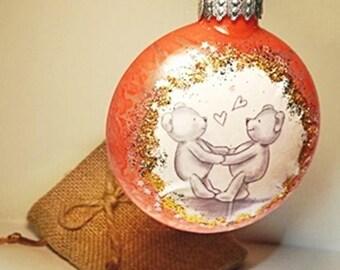 Unique Marbled Glass Christmas Art Ornaments