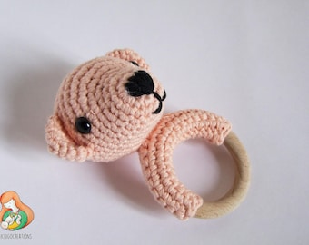 Teething ring teddy bear pink gift Birth baptism Christmas Babyshower Maternity