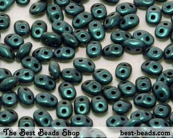 25g (300pcs) Dark Green Chameleon Super Duo Czech Glass Seed Beads 5x2.5mm