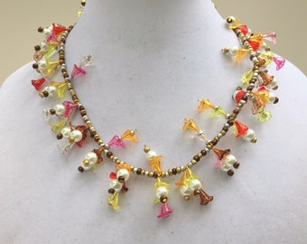 "Colorful fringe necklace, 21"" long, Funky multicolor lucite shell pearls jewelry, Flower garland necklace, OOAK handmade unique ALFAdesigns"