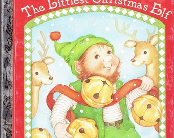 Vintage Little golden Book 1987 The Littlest Christmas Elf Xmas