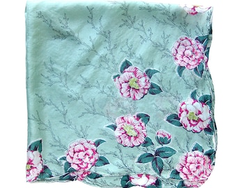Vintage Floral SILK Scarf with Scalloped Hem - Pink Roses on Seafoam - Scalloped Edge has a Rolled Hem