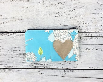 Blue Floral Zipper Pouch Small Clutch Bag Small Zip Pouch Gift for Her