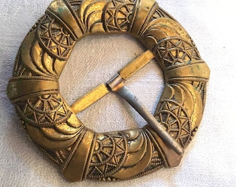 Brass Sash Buckle, Art Nouveau, Edwardian