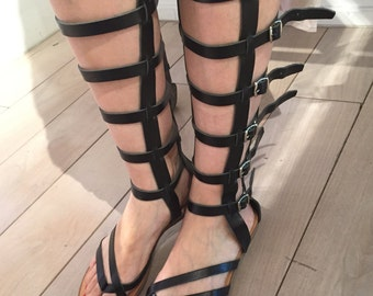 Knee-high Gladiator Sandals,FREE SHIPPING in the USA,Handmade Greek Leather sandal,Tall Strap Women's Sandals,flat,high,Roman - Andromache