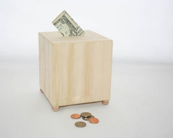 Wood Bank, DIY Wood Bank, Photo Cube, Piggy Bank, Money Bank for Kids, Money Bank for Adults, Decorate Your Own Money Bank