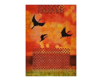 Monotype Art, Mixed Media, Print Fine Art, Abstract Modern Art, Gallery Online, Crane Art, Large Scale Art, Orange Artwork, At First Light