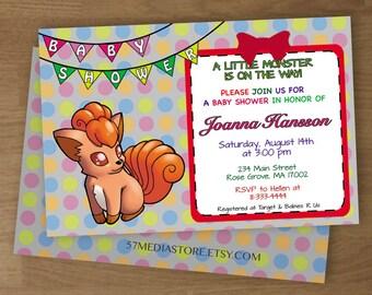 Baby Shower Invitation - Pokemon Vulpix Theme -  Digital Printable Custom Invitation and Thank You Cards - 5 x 7 or 4 x 6