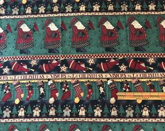 COTTON FABRIC~Xmas Santa stockings stars Visions stripe~36x44~Debbie Mumm~SSI
