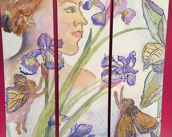 Iris and Fairy Bookmarks, by Michelle Kogan, Books, Book Accessories, Gardens, Flowers, Summer, Watercolors, Women, Mother's Day Birthday