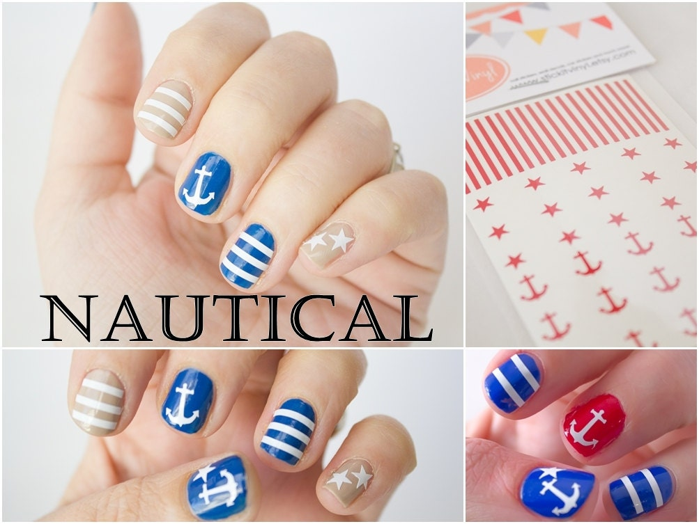 Nautical themed Nail Stickers. Anchors Stars and Stripes