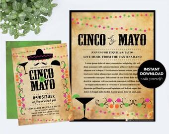 Editable Text Cinco de Mayo Invitation with Free Flyer, Fiesta Birthday Party Invite, Instant Download, Mexican Fiesta Theme, Editable PDF