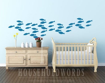 School of Fish Vinyl wall decal, Nautical decor, Nautical baby nursery wall decor, Fish decals, Tropical Fish Vinyl Wall Decal, Fish Sticker