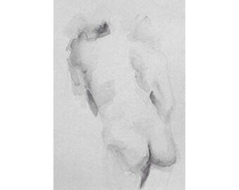 Figure - 5.5 x 8.5, graphite/wash on paper