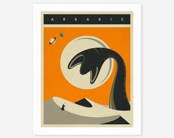 ARRAKIS TRAVEL POSTER (Giclée Fine Art Print/Photo Print/Poster Print) Orange version