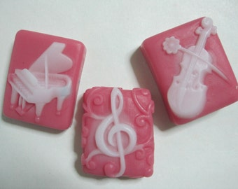 homemade scented glycerin soap, music, piano, violin, treble clef, artist