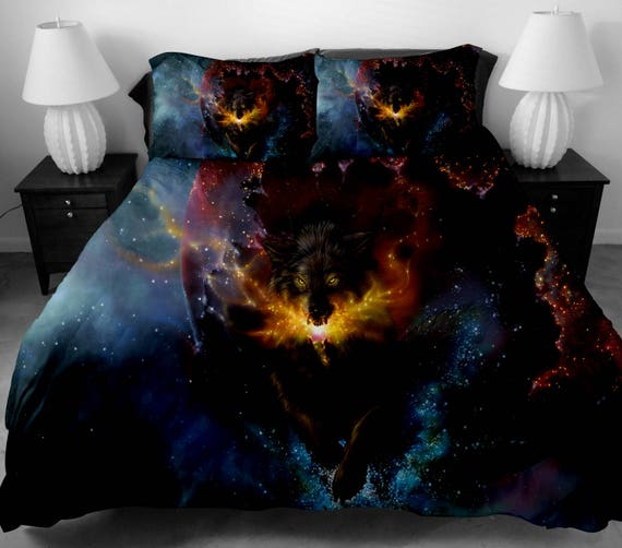 3 Pcs 3d Galaxy Wolf Bedding Set Twin Full Queen King Size