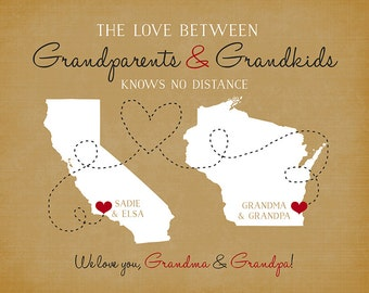 Gift for Grandparents, Long Distance Family Personalized Gift, Maps, Grandma and Grandpa, Grandmother, Mother in Law, Grandkids, Nana | WF9