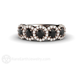 Black Diamond Engagement Ring Wedding Ring or Anniversary Band Conflict Free Halo