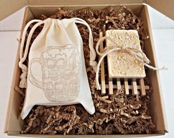 Oatmeal Beer Stout Soap Gift Box, Oatmeal Soap, Beer Soap, Beer Soap Favor, Oatmeal Soap Bar, Handmade Soap, Man Soap, Mens Natural Soap,