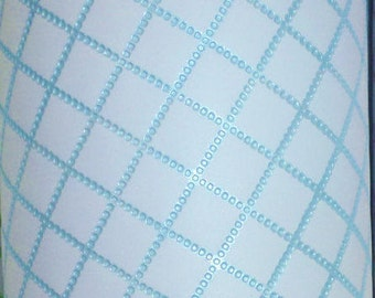 """Leather 8""""x10"""" Baby Blue CHAIN QUILTED Pattern Cowhide 3-3.5 oz / 1.2-1.4 mm PeggySueAlso™ E3450-01"""