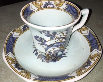 Antique WEDGWOOD Demitasse Set Antique China Cup and Saucer Set Miniature by ADAMS Ming Toi