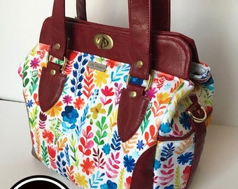 Spring floral and maroon faux leather handbag shoulder bag crossbody bag