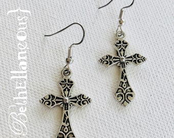 Cross Earrings, Christian Jewelry, Silver Cross, Gift For Her, Religious Jewelry, Unique Jewelry, Handmade Gift, Charm Earrings