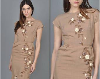 1950s Taupe Floral 3D Wiggle Dress  | vintage 1950s dress | taupe cotton 3d floral 50s wiggle dress