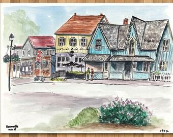 Watercolour Painting of Unionville, Toronto, Ontario, Canada