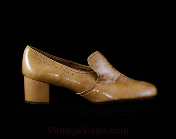 Deadstock Step Charm NOS Stitched Brown 60s 1 7 Wet Caramel Light Pumps 7M Look Vinyl 1960s 48079 Tan Shoes Mod Size Detail HnUWaTq