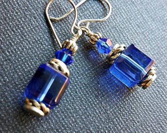 Vintage cobalt blue cube crystal earrings on silver-cobalt blue crystal earrings-cobalt blue dangle earrings-vintage crystal-cube crystal