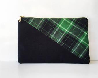 ipad pouch, ipad case, royal stewart bag, green tartan fabric, plaid fabric, tartan handbag, Handmade bag, tartan fabric, tartan clutch