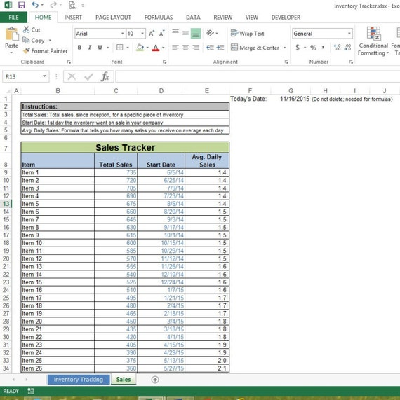 daily sales spreadsheet