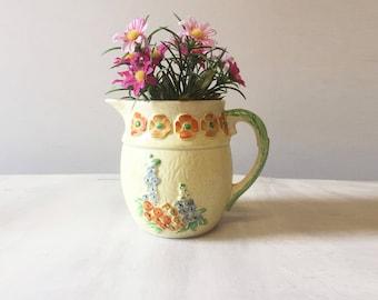 Vintage floral jug, vintage jug, retro jug, vintage pitcher, china jug, vintage flower vase, collectible jug, floral pitcher, floral vase
