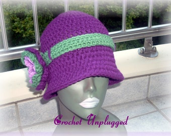 Crocheted Orchid Floral Cloche Ready-to-Ship