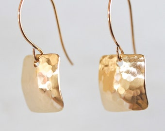 Nu Gold Square Earrings - Simple Jewelry - Simple Earrings - Polished Nu Gold Earrings - Bohemian Chic - Unique Jewelry - Hammered