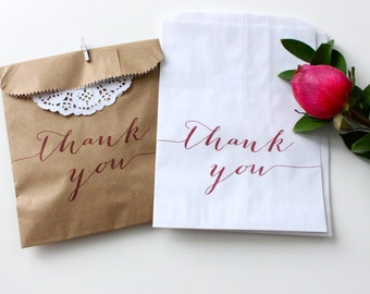 Wedding Favor Thank You Bags.Wax Lined Favor Bag.
