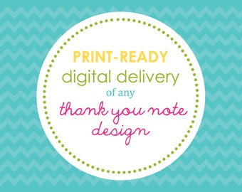 PRINTABLE - Digital Delivery of Any Sweet Wishes Thank You Note Design