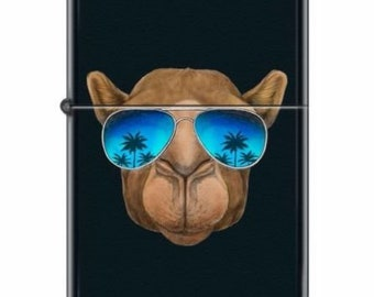 Zippo Lighter Animal Camel Face Blue Palms Glasses Black Matte Cool Joe