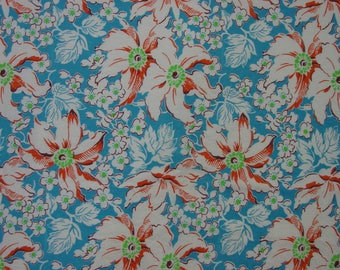 """Beautiful Vintage Feedsack Fabric, Blue Background, Floral, Orchids 28 x 35"""""""