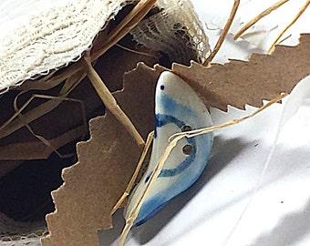 Love Dove Button Porcelain Blue Scrolled Heart Motif