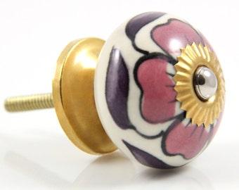 Pink and purple flower knob 4.0cm MUL013