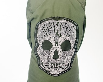 RECLAIMED Run Dia De Los Muertos Sugarskull Distressed Army Jacket